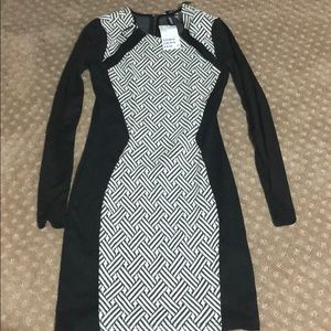 Black and white body fitted dress